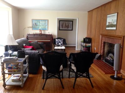 The living area is devoted to conversation, puzzles, games and music