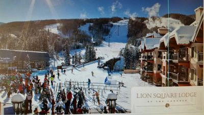 LionSquare, just left of the skier bridge and gondola, is literally ON the slope