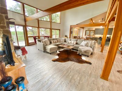 Photo for 5 acres of privacy with 2 homes, gameroom, spectacular views, pool and hot tub!
