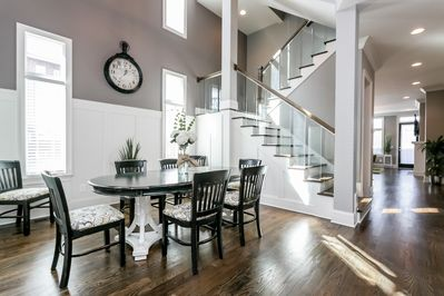 Beautiful vaulted dining area downstairs!