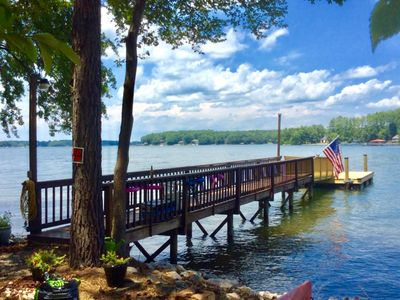 Photo for Step-A-Side 230 feet Expansive shore  Views on Lake Norman Deepwater Peninsula