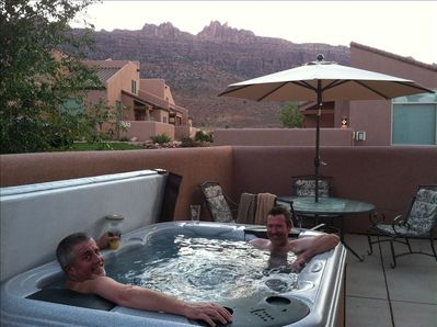 Hot Tub while enjoying the view of the Moab Rim