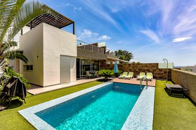 Villa from outside, pool size is 3 by 6 metres