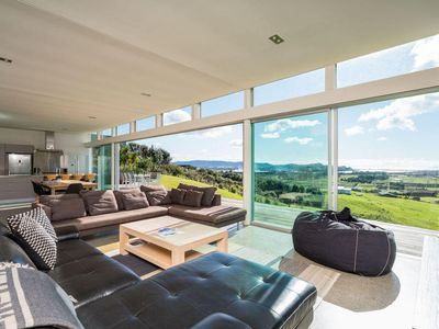 Photo for The Glass House - Modern, pet-friendly designer holiday home with spectacular views and spa pool