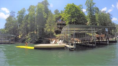Photo for 'Wake Dreams' Lakefront Cabin, Private Covered Dock, Private Hot Tub, sleeps 30