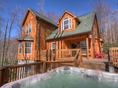 Photo for 4BR/4.5BA Mountain Home, Hot Tub, Fire Pit, Foosball, Close to Ski Beech