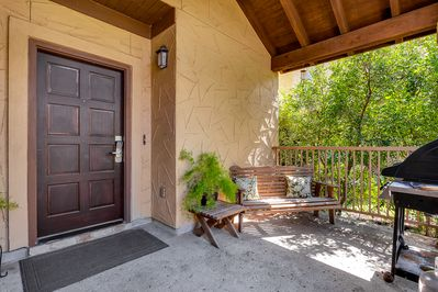 Front entrance with bench & grill