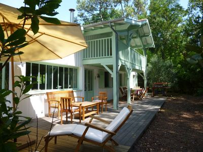 Photo for wooden villa for 8 people in the 44 ha in Cap Ferret, 200m from the beach