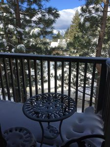 Winter View of Lake from Top Living Room Deck