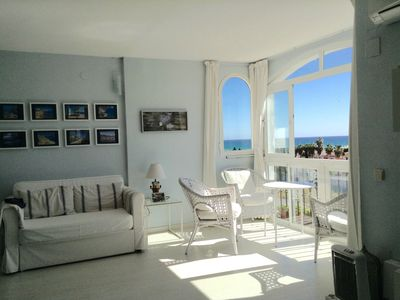 Photo for Lovely, bright, relaxing. 3 min beach. Sea views. 2 Rooms. 2 Baths. GARAGE-WIFI-POOL.