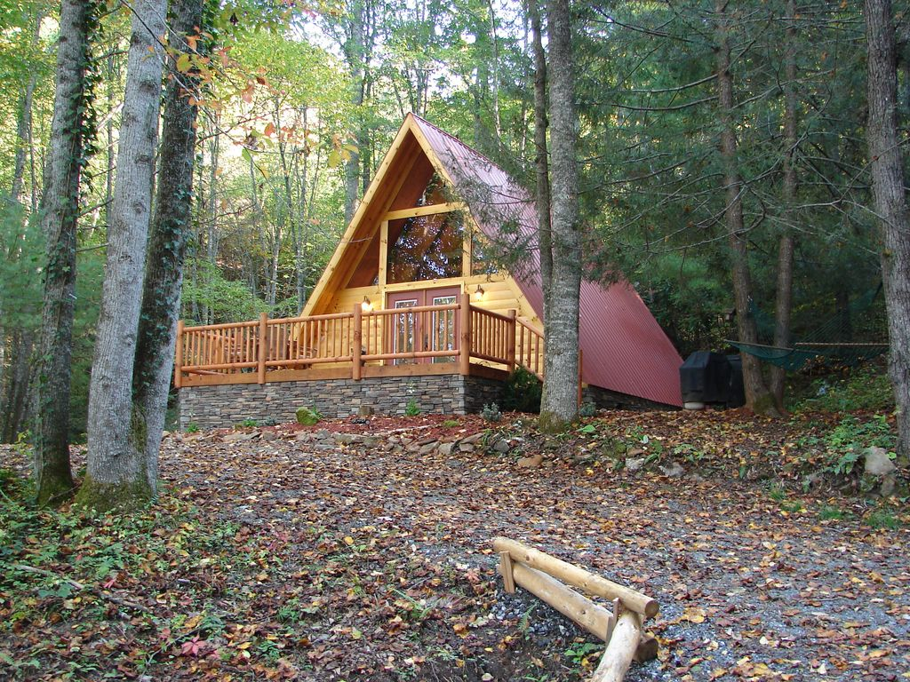 A frame log cabin in the woods wifi hot tub creek for A frame log cabin