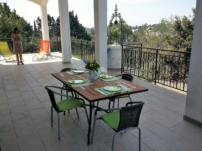 Private main veranda with table and chairs for 6 people.