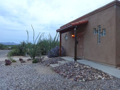 Front of casita and looking North. Concrete ramp (Not fully handicap accessible)