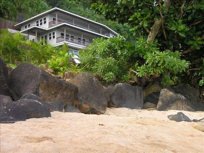 Anini Place is across a 1-lane road from the beach. We are very close!