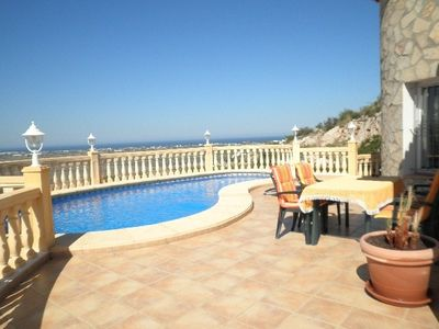 Photo for Lone-standing tower villa with private pool & stunning sea & mountain view