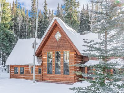 Photo for 4BR Lux Log Home Just Off Slopes:  Hot Tub, Walk To Ski, 8 Beds