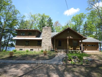 Photo for Wild Refuge Lodge-Interlochen-Waterfront-Spacious Log home-Tennis court