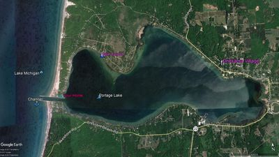 Photo for Beaches & View on Lake Michigan and Portage Lake. Secluded home & private dock