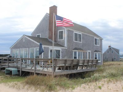 Photo for Bayfront home w/ private 2-acre beach, deck & huge view - 1 dog OK!