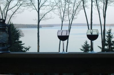 Spectacular year round views from two tier deck...direct access to the LAKE!