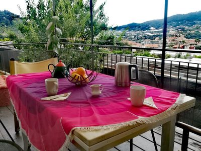 Photo for house on the bridge overlooking the village of Taggia and the sea