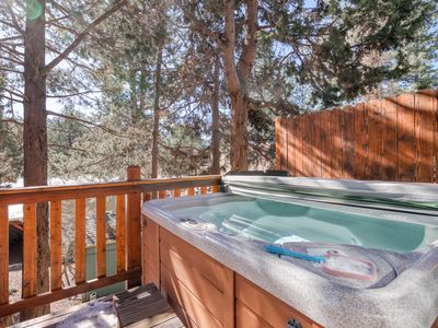 Photo for Cozy cabin with large deck & private hot tub, beautiful views, EV Charging