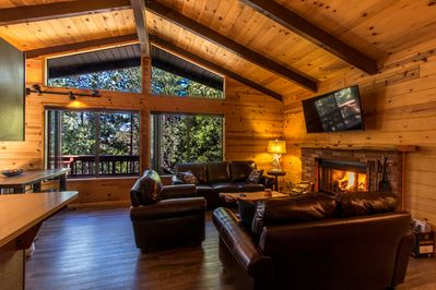 Cozy living room. Enjoy the fire, the trees & the 4K HD Smart TV!