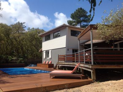 Photo for House 7 people 800 m heated pool Estagnots beach and lake