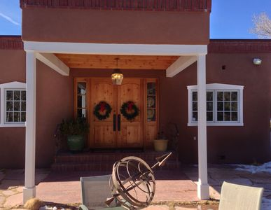 Front Entrance-Two french doors with peek a boo windows