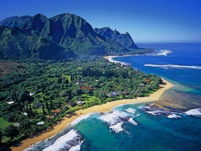 Arial view of Haena with its beautiful beaches and lush green mountains