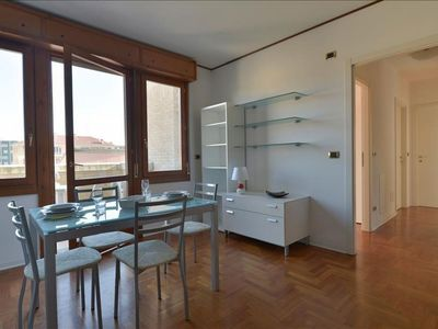 Photo for Spacious Aurelio Saffi apartment in Bologna with integrated air conditioning, private parking, balc…