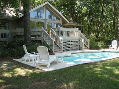 Photo for Charming private home with private pool and short walk to beach!