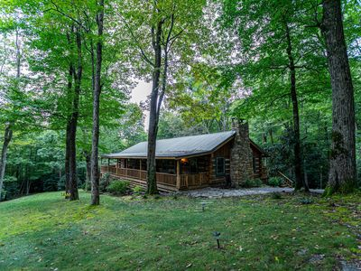 Photo for Creekside log cabin with wood-burning fireplace!