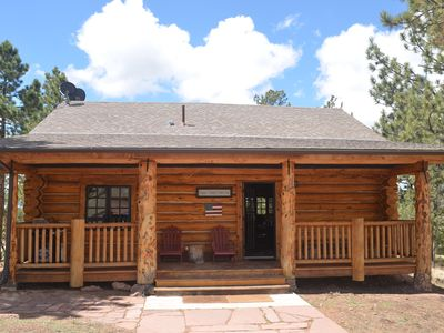 Photo for Real Log Cabin w/Hot Tub, Wi-Fi, Secluded