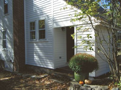 The front entrance in the fall.