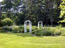 """Looking to the right after you arrive are the back gardens. Once the """"vegetaable garden"""", they have been transformed."""