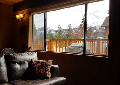 View of Bear Mountain from the living room couch.