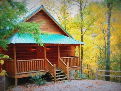 Photo for Private Mtn Cabin In Woods-5 Miles from Pkwy, Pool Table, Hot Tub, Jacuzzi, Deck
