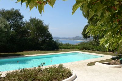 The 12x5 meter heated pool, looking South-West over the bay