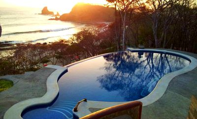 Photo for Beachfront Villa with 270 degrees view to Playa Maderas, bays and forest