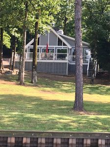 The cabin is just steps from Lake Cypress Springs!