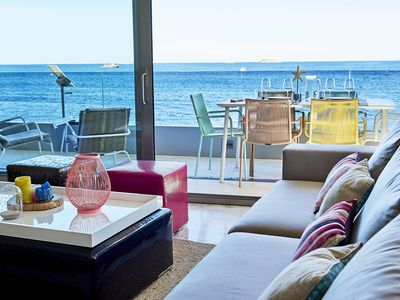 Photo for Spectacular  front beach VIP 7 person apartment - Playa den Bossa - 4 bedrooms