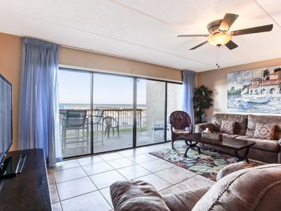 Photo for 1st Floor 3 Bed/2 Bath Oceanfront condo sleeps 8.  W/D, pool, tennis and private fishing pier!