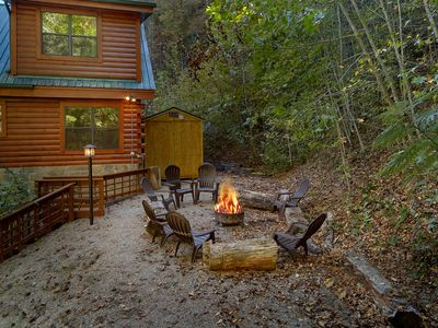 Photo for Escape to the mountains and enjoy your private deck with spring and waterfall