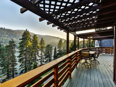 Photo for BEST VIEW! Rustic Lakefront Cabin on Lake Gregory/Arrowhead