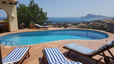 Photo for Beautiful Mediterranean Villa Aire conditioning Pool Garden Sea and Mountain View