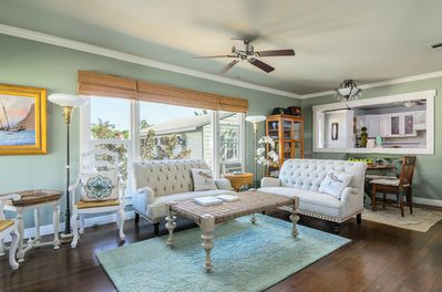 Sunny living room with dinette.