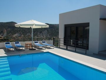 Luxury villa with private pool, terraces, valley and sea views, quiet area.