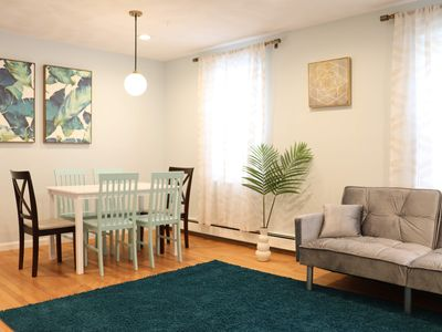 Photo for 2-bed condo *parking* 3-minute walk to subway, Harvard,MIT,Lesley,Tufts,Boston