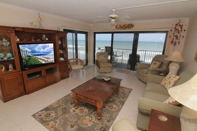 Comfy Living Room with a gorgeous view of the beach!